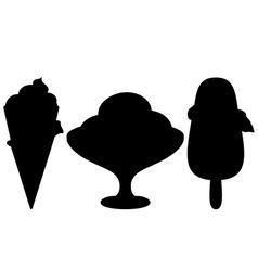 ice-cream silhouette set vector image