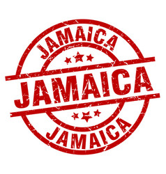 Jamaica red round grunge stamp vector