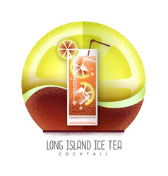 Long island cocktail icon grainy texture vector