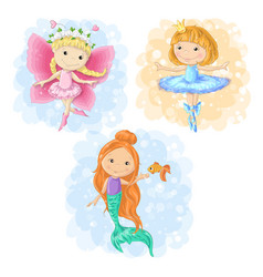 Lovely cartoon girl in different costumes vector