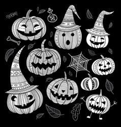 lovely halloween set of cute pumpkins in hat in vector image