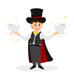 Magician with hat and white doves vector