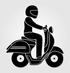 man riding fast retro scooter icon vector image