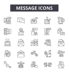 message line icons signs set outline vector image