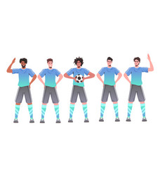 mix race standing together soccer vector image