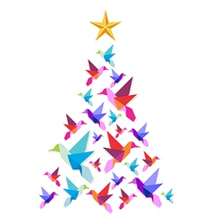 Origami hummingbirds Christmas tree vector image