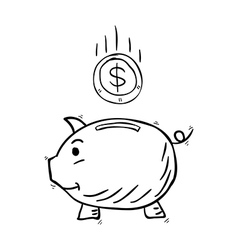 Piggy bank hand drawn vector