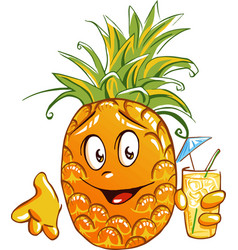 pineapple cartoon character vector image