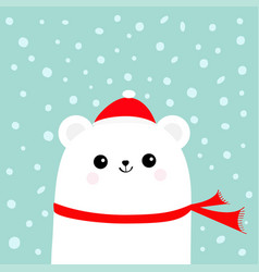 Polar white little small bear cub wearing hat vector