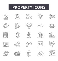Property line icons signs set linear vector