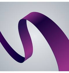 Purple fabric curved ribbon on grey background vector