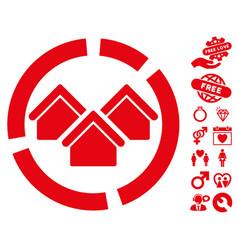 Realty diagram icon with valentine bonus vector