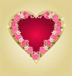 Red heart with pink roses vector