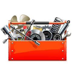 Red toolbox with car parts vector