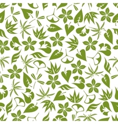 Retro seamless pattern of pale green leaves vector image