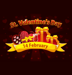 romantic banner for saint valentine day greeting vector image