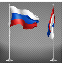 Russia national tricolor flag 3d realistic vector