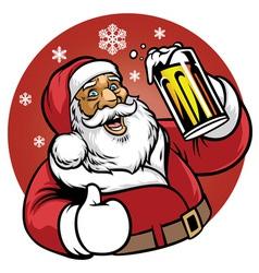 Santa claus enjoy a glass of beer vector