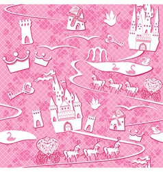 Seamless pattern with fairytale land - castles lak vector