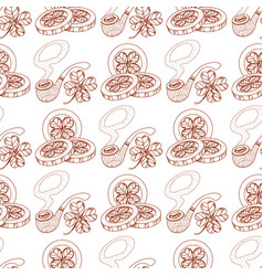seamless pattern with smoking pipe and coins with vector image
