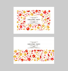 set christmas party or dinner invitations vector image