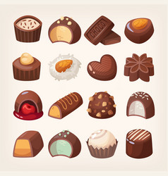 set colorful chocolate desserts and candies vector image