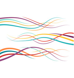 set of abstract color curved lines vector image
