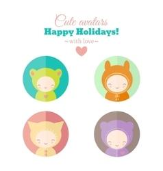 set of holiday carnival avatars vector image