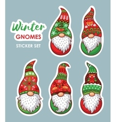 set stickers with christmas gnomes vector image