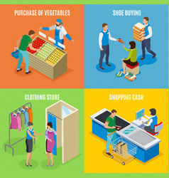 shopping people isometric design concept vector image