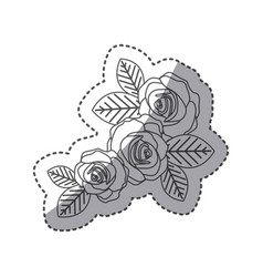 silhouette oval roses with leaves icon vector image