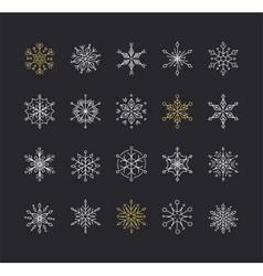 snowflakes set geometric christmas pattern vector image