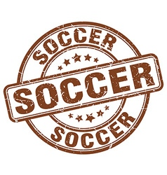 soccer brown grunge round vintage rubber stamp vector image