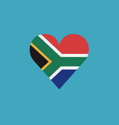 south africa flag icon in a heart shape in flat vector image