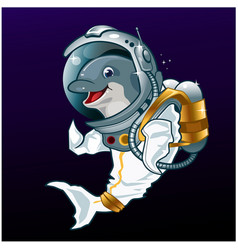 Space dolphin mascot cartoon vector