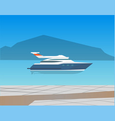 speed boat yacht on seascape vector image