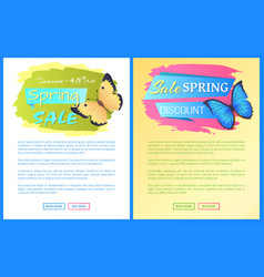 spring sale poster discount color butterflies web vector image
