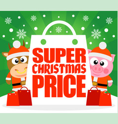 Super christmas price card with bull and pig vector