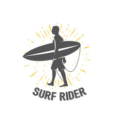 Surfing logo ride the wave surf rider vector