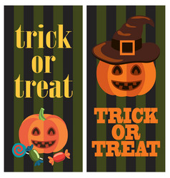 trick or treat sign on halloween themed poster vector image