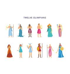 Twelve olympians greek gods and goddesses flat vector