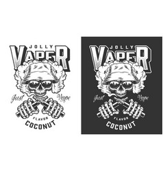 Vintage vaping monochrome badge vector
