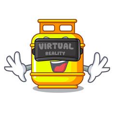Virtual reality creative in gas cartoon tank vector