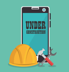 Webpage under construction with smartphone vector