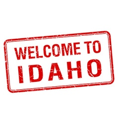 welcome to Idaho red grunge square stamp vector image