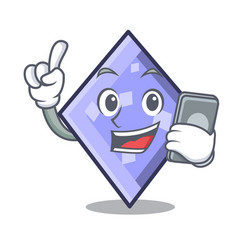 with phone rhombus character cartoon style vector image
