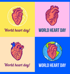 world red heart day banner set hand drawn style vector image
