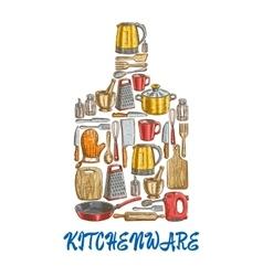 Kitchen utensils and kitchenware emblem vector image