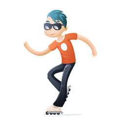 rollerblading roller skate cartoon hipster geek vector image vector image