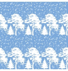 Seamless trees silhouettes and snow vector image vector image